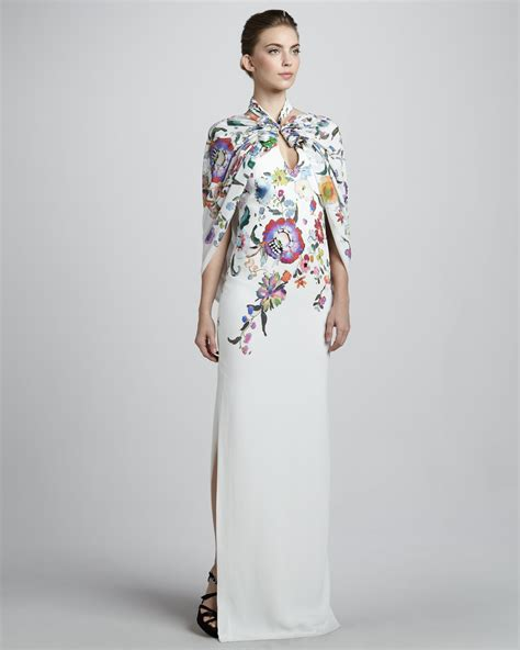 Etro Dress lyst etro floral caped gown in white