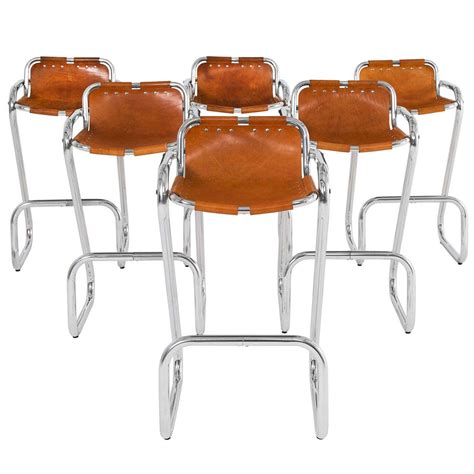 Set Of Six Bar Stools by Set Of Six Bar Stools In Cognac Leather At 1stdibs