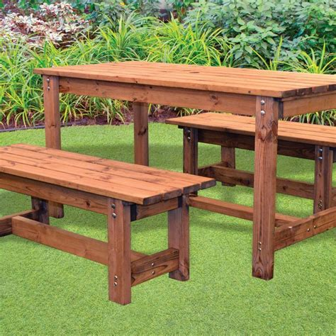 pub table bench seat 6 seat pub style scandinavian redwood garden bench table