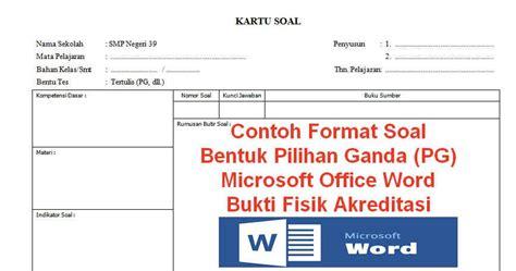 contoh format kartu soal pilihan ganda pg microsoft office word bukti