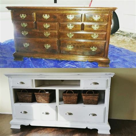 chalk paint tv cabinet diy dresser to tv stand chalk paint project our