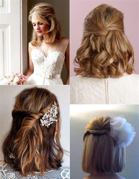 hairstyles for short hair put it up half up half down hairstyles for brides with short hair