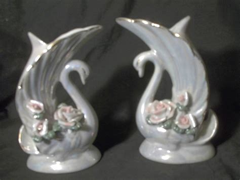 Glass Swan Vase by Vintage Pair White Glass Swan Vase Iridescent With Pink Gold Trim Set Of 2