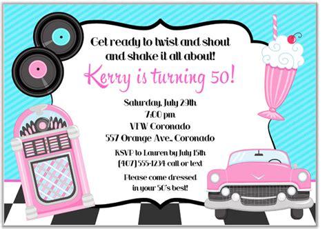 50 S Theme Wedding Invitations by 50s Theme Birthday Invitations