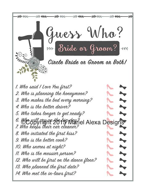 guess who bridal shower free template guess who or groom bridal shower instant