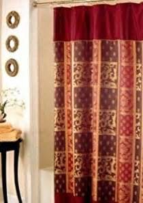 Brown And Gold Shower Curtains Zaria Chocolate Brown Burgundy And Gold Damask Fabric Shower Curtain