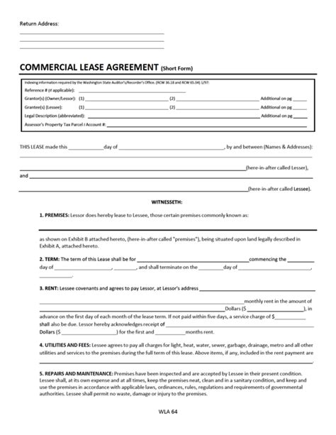 rental agreement template washington state washington state lease agreement template best free