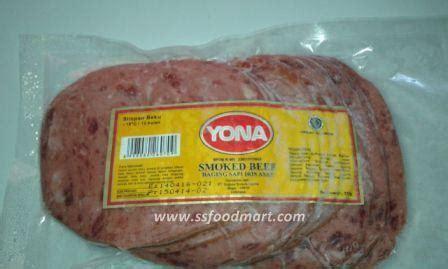 Frozen Food Yona Smoked Beef Sapi Iris Asap 250 Gr jual dagiing burger sapi iris asap smoked beef yona isi 12
