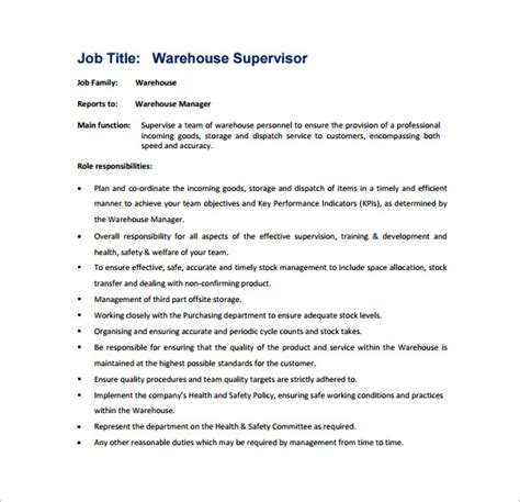 supervisor job description template 10 free word excel