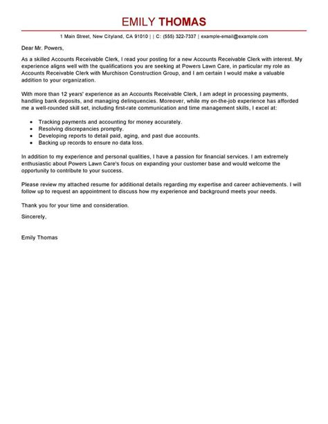 cover letter for accounts best accounts receivable clerk cover letter exles