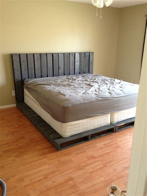 wooden pallet bed frame 34 diy ideas best use of cheap pallet bed frame wood