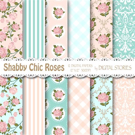 Lace Shabi Blue shabby chic digital paper quot shabby teal pink quot floral