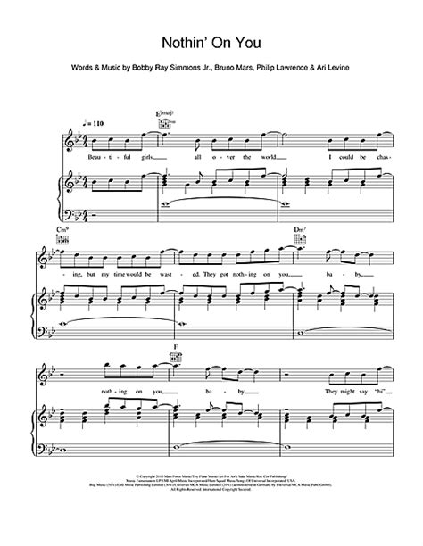 free download lagu bruno mars nothin on you mp3 nothin on you feat bruno mars sheet music by b o b
