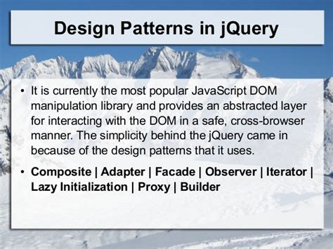 jquery pattern library design patterns in java script jquery angularjs