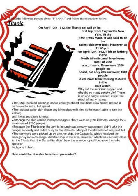printable titanic quiz titanic worksheets for elementary students sentences
