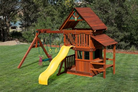 playhouse swing sets wooden swing set with playhouse images