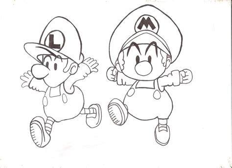 baby luigi coloring page baby mario and luigi by isishathor on deviantart