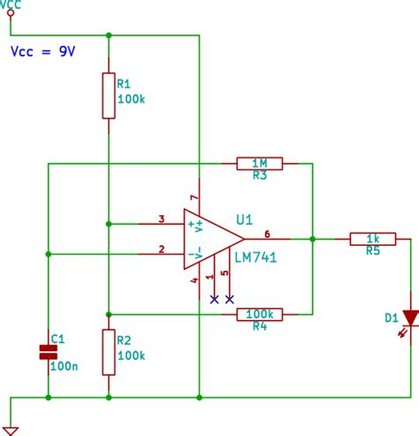 op oscillator led flasher circuit beginner