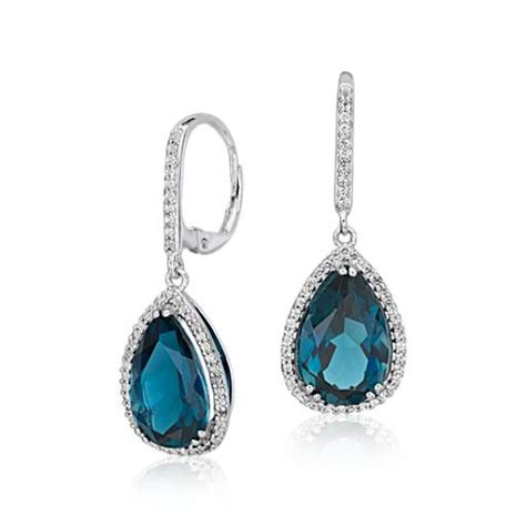 blue topaz emerald halo drop earrings in sterling