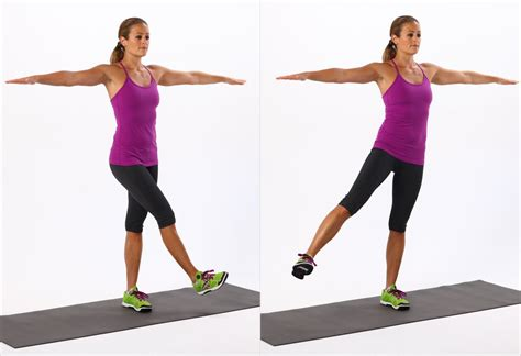 swing your arms from side to side active for legs and hips popsugar fitness
