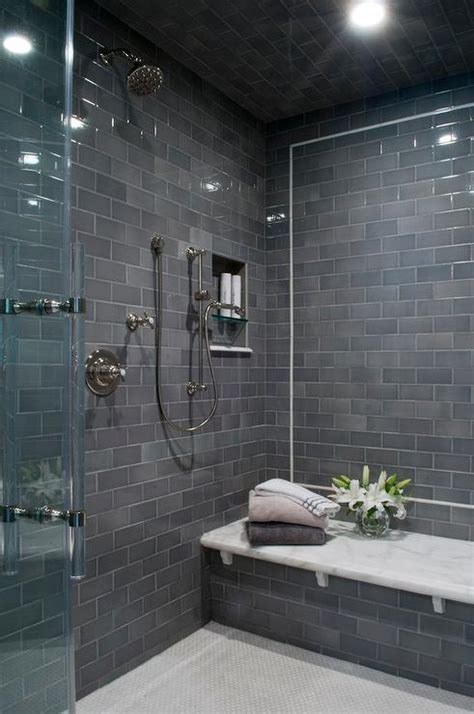 Subway Bathroom Tile Gray Subway Shower Tiles With White Marble Top Bench Contemporary Bathroom