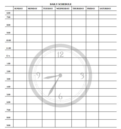 printable blank daily schedule template sle printable daily schedule template 23 free