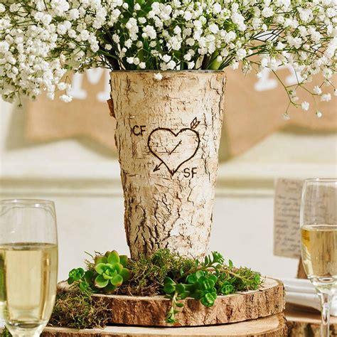 Birch Wood Vases by Personalised Rustic Birch Wood Vase Birch Bark Birch