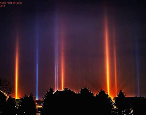 light pillars cold weather phenomenon displaying beautiful light pillars