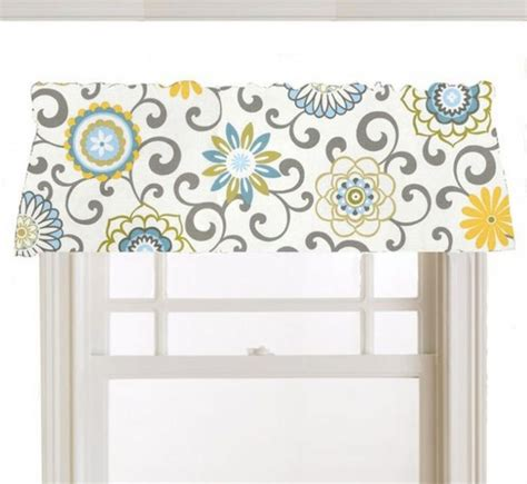 yellow and gray kitchen curtains window topper valance mod flowers gray white yellow