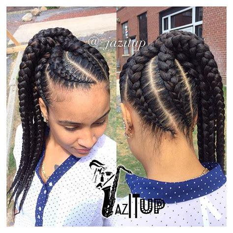 big braids pony hair style side pony 7 feedinbraids into a ponytail jazituphair
