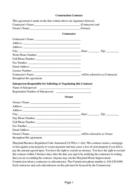 Home Repair Contract Template Free Printable Documents Maryland Home Improvement Contract Template