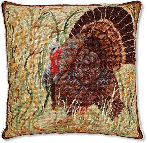 Thanksgiving Pillows by Thanksgiving Turkey Needlepoint Pillow Decorative Lodge