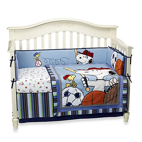 Lambs Ivy 174 Team Snoopy 4 Piece Crib Bedding Set Buybuy Snoopy Crib Bedding