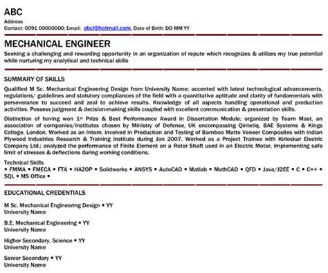 B Freshers Resume Sles by Resume For Be Mechanical Fresher Talktomartyb
