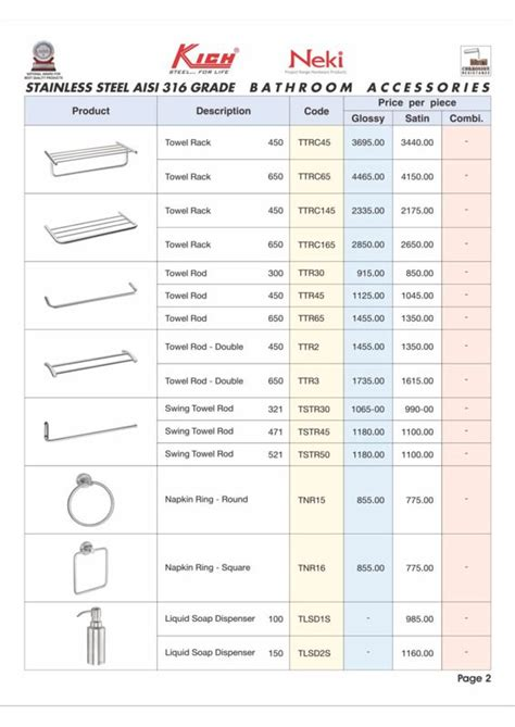 Bathroom Accessories Price List Product Range Of Inarch Gallery Where We Provide Our