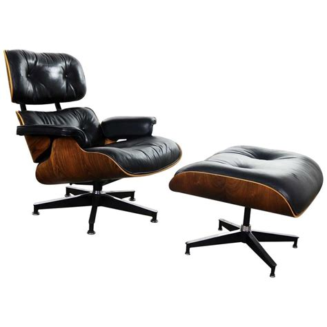 vintage eames lounge chair and ottoman in black leather