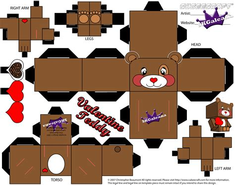 Teddy Papercraft - s day teddy cubeecraft free printables