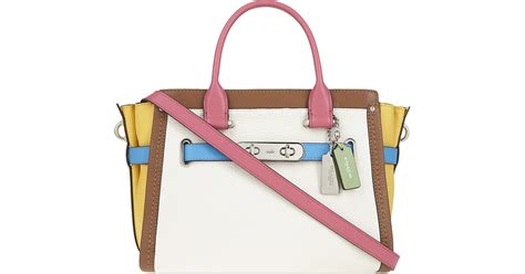 Coach Swagger Carryal Rainbow 23106 coach swagger 27 rainbow pebbled leather tote in white lyst