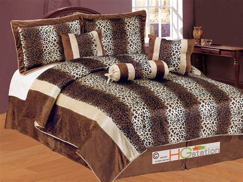 leopard queen comforter set 7pc faux fur leopard cheetah jaguar cat feline striped
