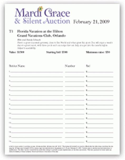 silent auction program template 6 silent auction bid sheet templates formats exles