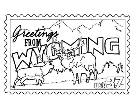 usa printables wyoming state st us states coloring pages