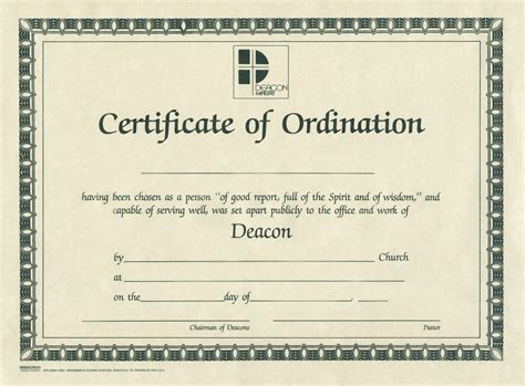 search results for deacon ordination certificate