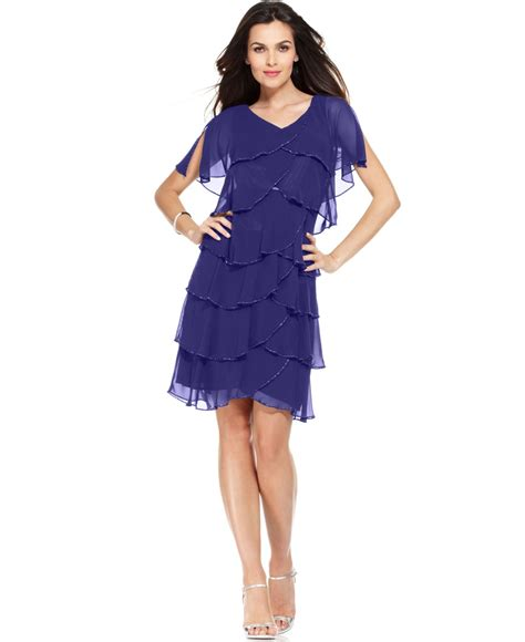 Dress Of The Day Tiered Dress by Patra Split Sleeve Beaded Tiered Dress In