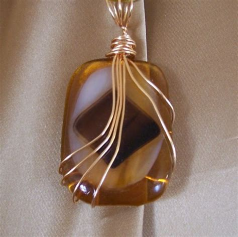 Handmade Wire Wrapped Jewelry - handmade jewelry pendant wire wrapped fused glass