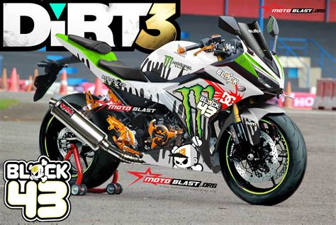 Decal Beat Karbu Part 3 graphic kit cbr150r white dirt3 ken block motoblast