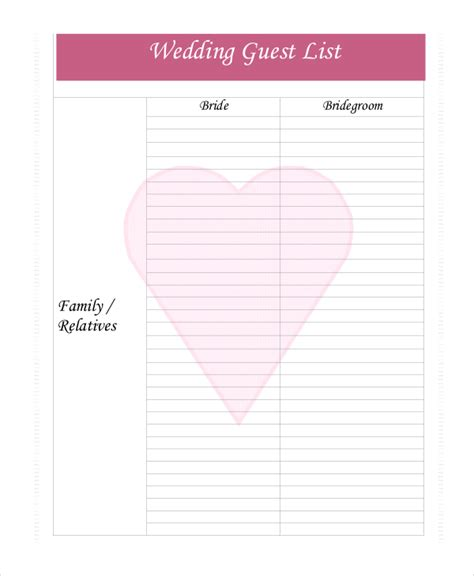Wedding Planner Guest List by Wedding Guest List Template 9 Free Word Excel Pdf