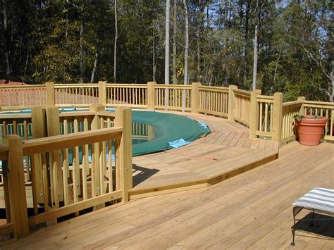wood pool decks big above ground pool decks with lounge wood deck fence