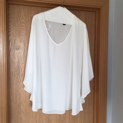 White Batwing Top Size S 42 inc international concepts tops nwt washed white