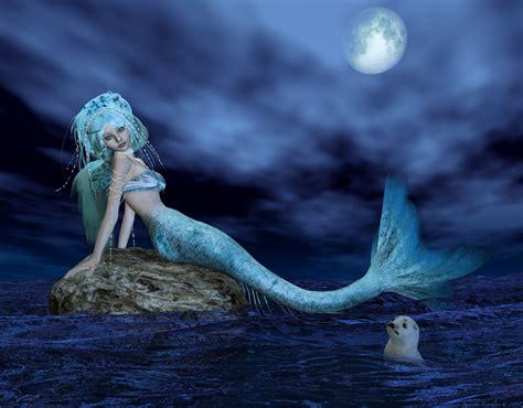 the mermaid s mermaids images nerea bathing in moonlight hd wallpaper