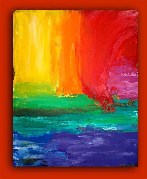 painting rainbow rainbow abstract painting original large contemporary